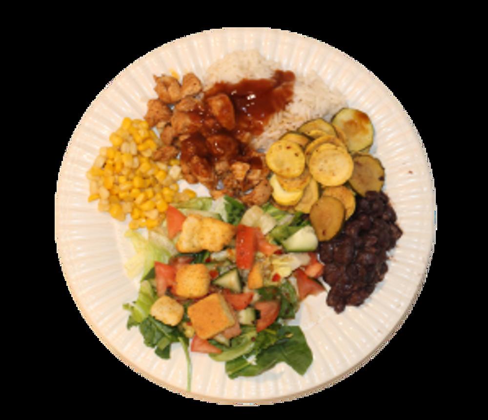 Dinner - chicken, corn, rice, squash, black beans, salad sleeping