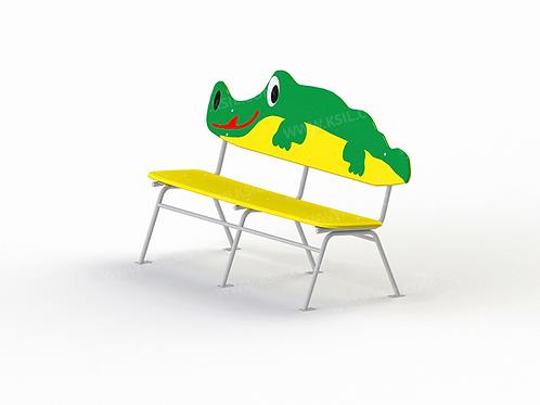 """2403 - Скамейка детская на металлических ножках """"Крокодил"""""""