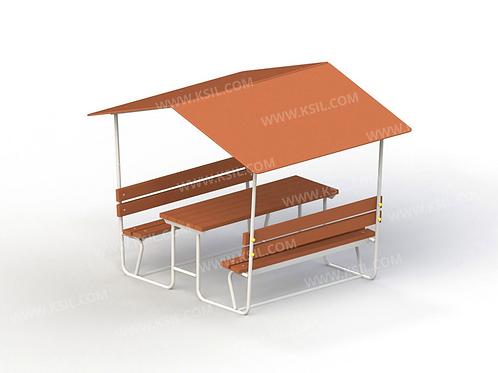 2604 - Стол со скамьями и навесом