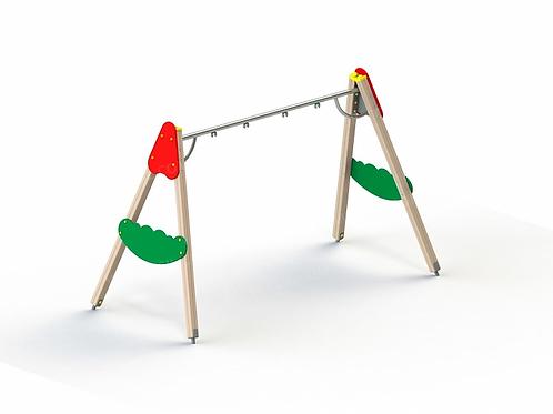 4142 - Качели на деревянных стойках с оцинкованной балкой