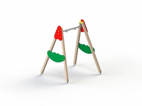4141 - Качели на деревянных стойках с оцинкованной балкой