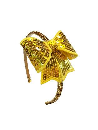 Glitter Bow Headband, Yellow