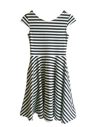 Capri Skater Dress, Black Stripe