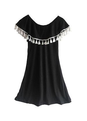 Ruffle Collar Dress, Black