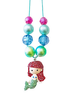 Red Hair Mermaid Charm Necklace