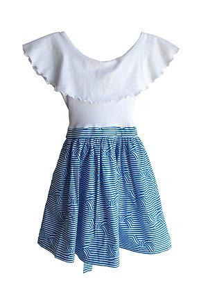 Ruffle Collar Abbie, Blue Bows
