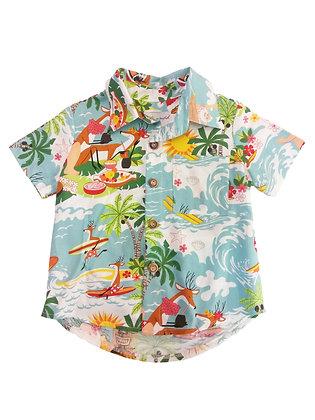 Boy Collared Shirt, Surfin Santa