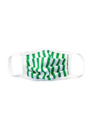 Unisex Kid Cotton Mask, Green Stripe