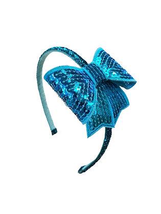 Glitter Bow Headband, Blue