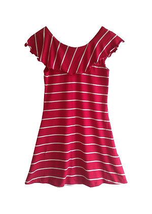 Ruffle Collar Dress, Red Stripe