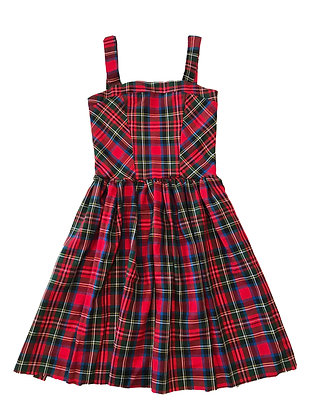 Tartan Fit 'n' Flare Dress, Red