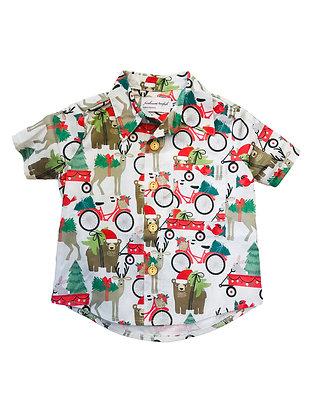 Boy Collared Shirt, Christmas Bear
