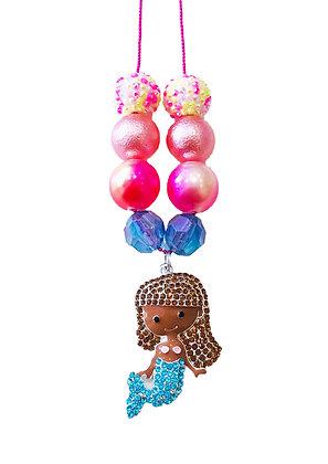 Brown Hair Mermaid Charm Necklace