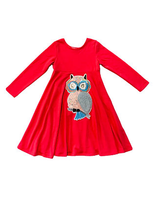 Emma Dress, Coral Owl