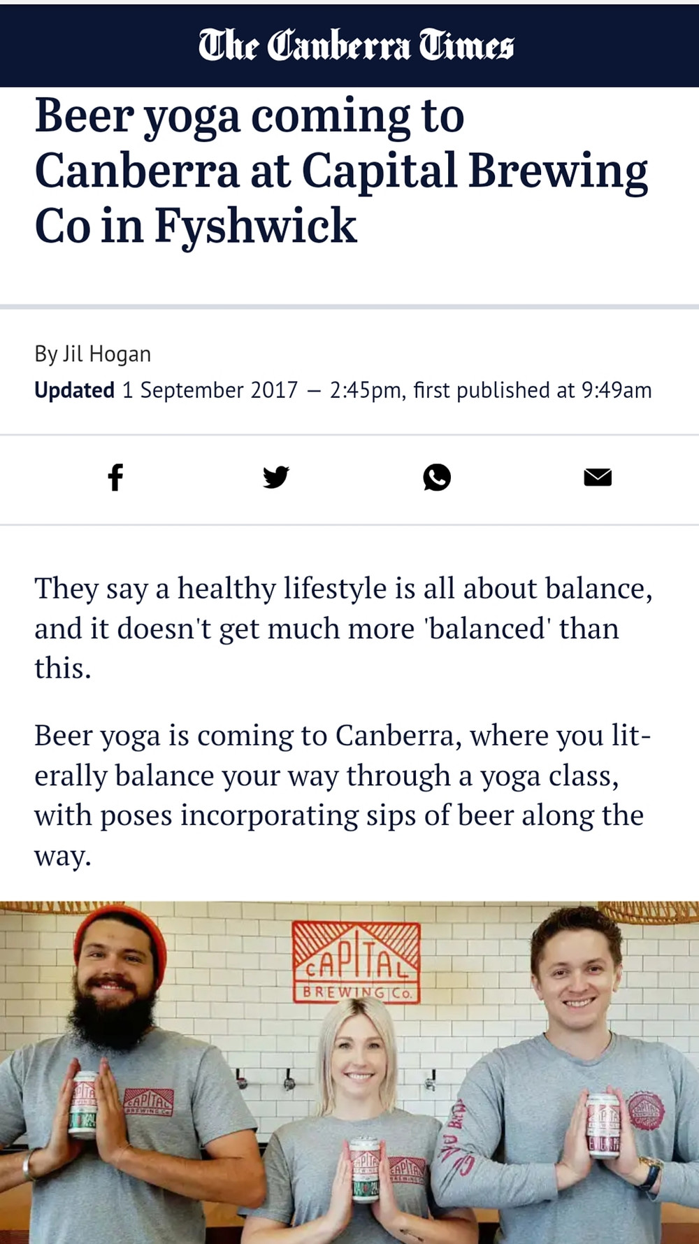 Beer Yoga is coming to Canberra