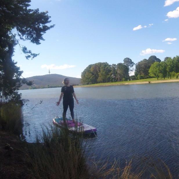 Tadasana, mountain pose, SUP Yoga, Stand up paddle board yoga, red paddle co, joga yoga canberra
