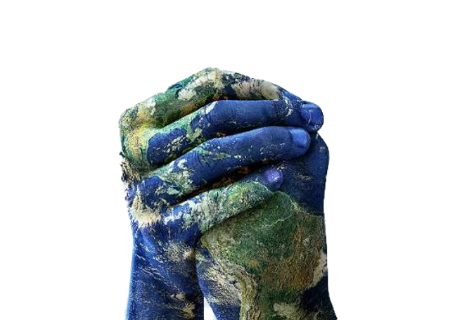 Picture of hands painted to look like the earth