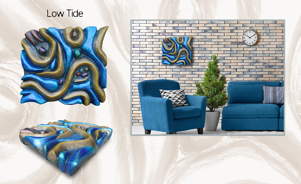 "3-D custom wall sculpture art by di Boor Art. ""Low Tide"". Gallery image."
