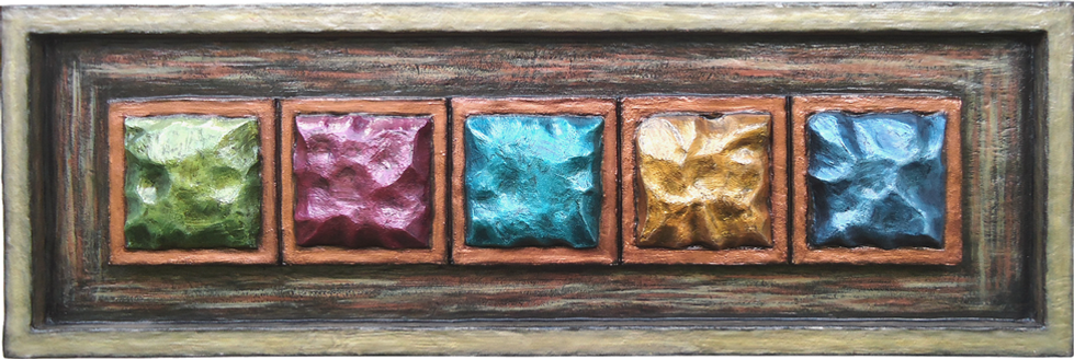 """""""Framed Bracelet"""". 3-D custom wall sculpture by Diana Armstrong of di Boor Art. Gallery image."""