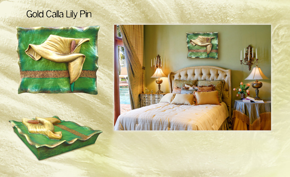"3-D custom wall sculpture art by di Boor Art. ""Gold Calla Lily Pin"". Gallery image."