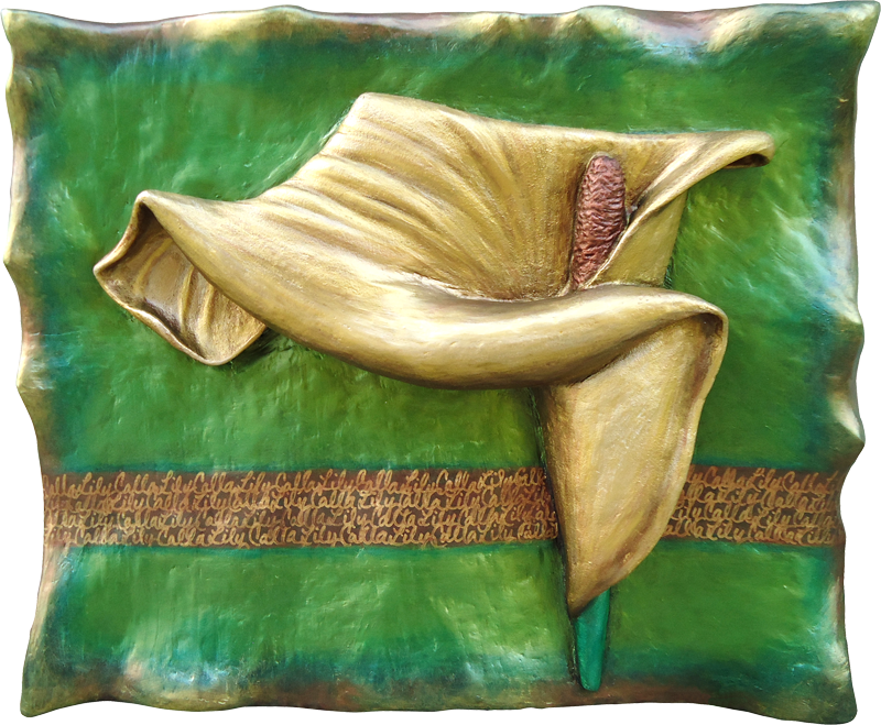 """3-D custom wall sculpture art by di Boor Art. """"Gold Calla Lily Pin"""". Gallery image."""