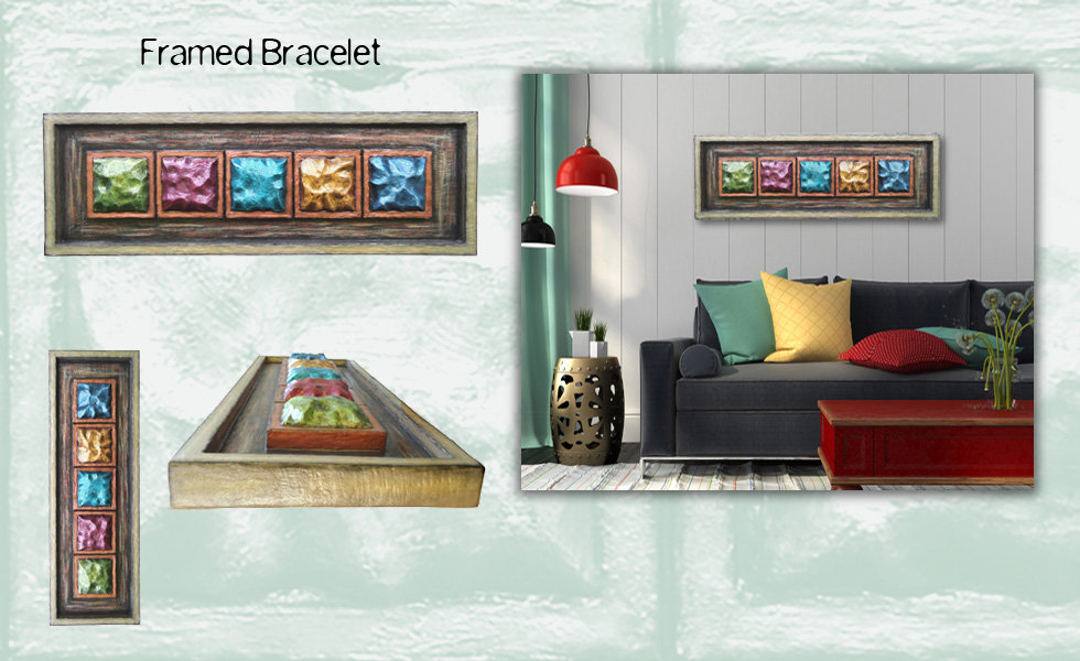 "3-D custom wall sulpture art by di Boor Art. ""Framed Bracelet"". Gallery image."