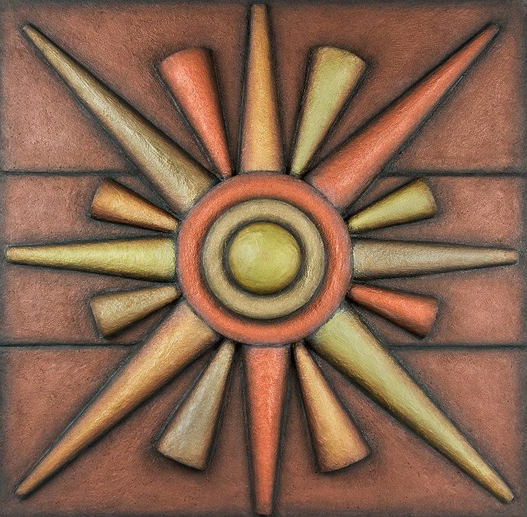 """Sun Pendant"". 3-D custom wall sculpture by Diana Armstrong of di Boor Art."