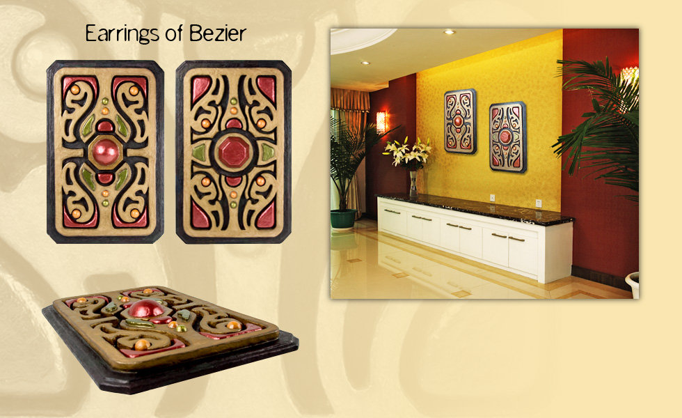 "3-D custom wall sculpture art by di Boor Art. ""Earrings of Bezier"". Gallery image."