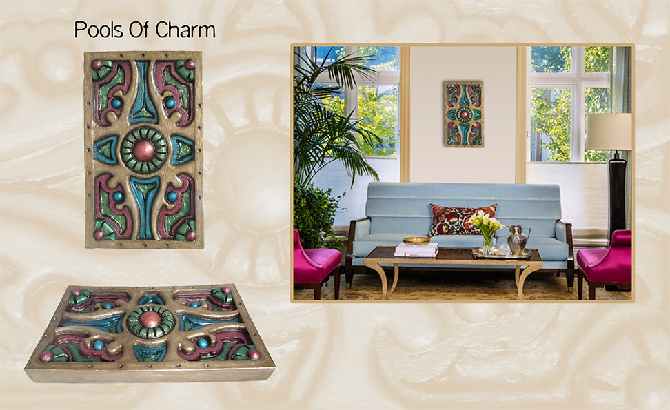"3-D custom wall sculpture art by di Boor Art. ""Pools Of Charm"". Gallery image."