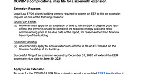 Energy Efficiency Report (EER) submission extended