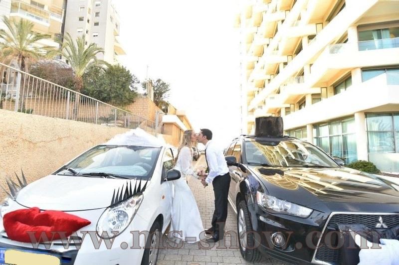 קישוט רכב לחתונה - לדי & ג'נטלמן