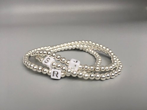 Sterling Silver 4mm Ball Bead Bracelet with Initial