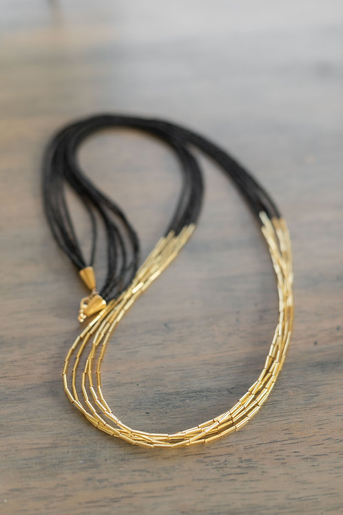London Matte Black and Gold Necklace