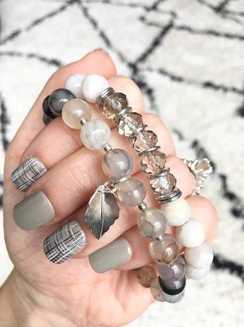 Silver Sparkle Beaded Bracelet Bundle
