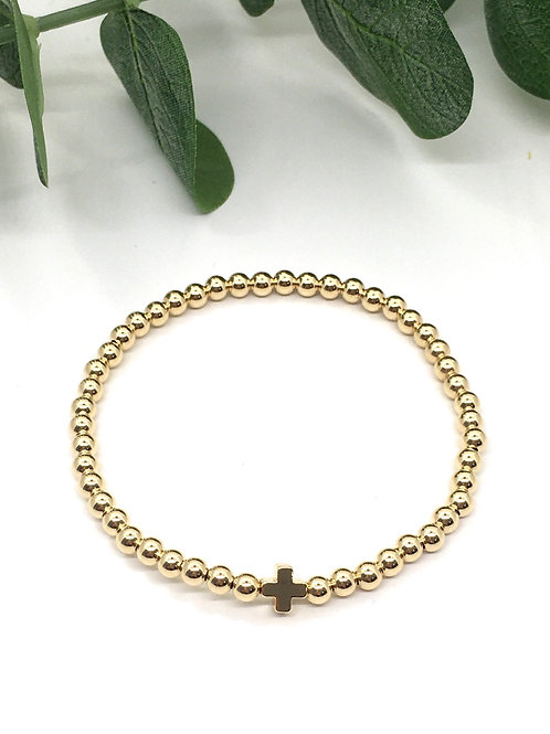 Classic Gold 4mm Ball Bead Bracelet with Cross