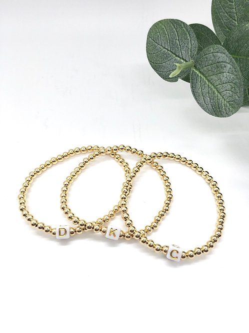 Classic  Gold 4mm Ball Bead Bracelet with Initial