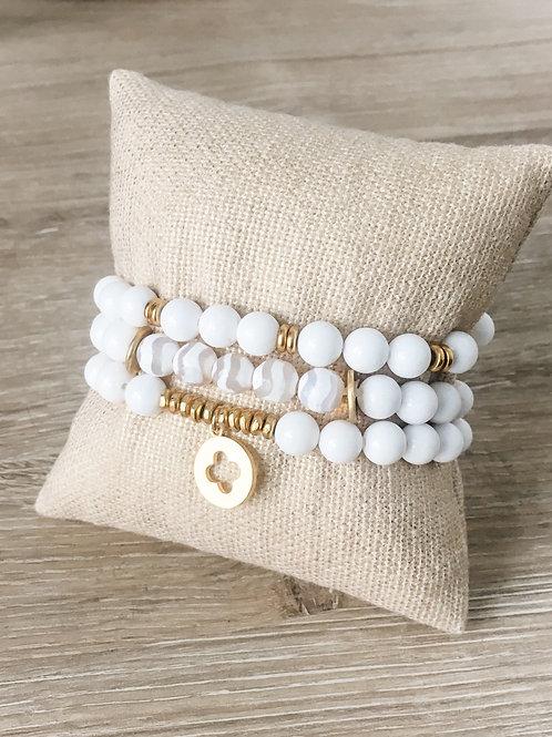 Lydia White Beaded Bracelet Set