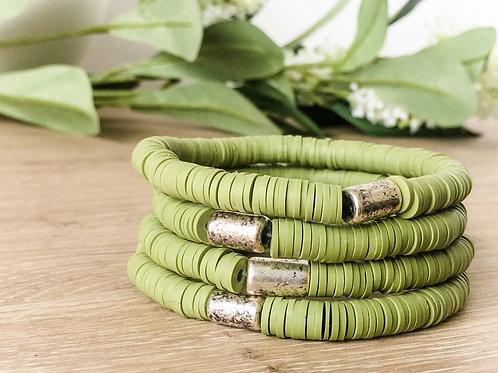 Olive Green Vinyl Bracelet