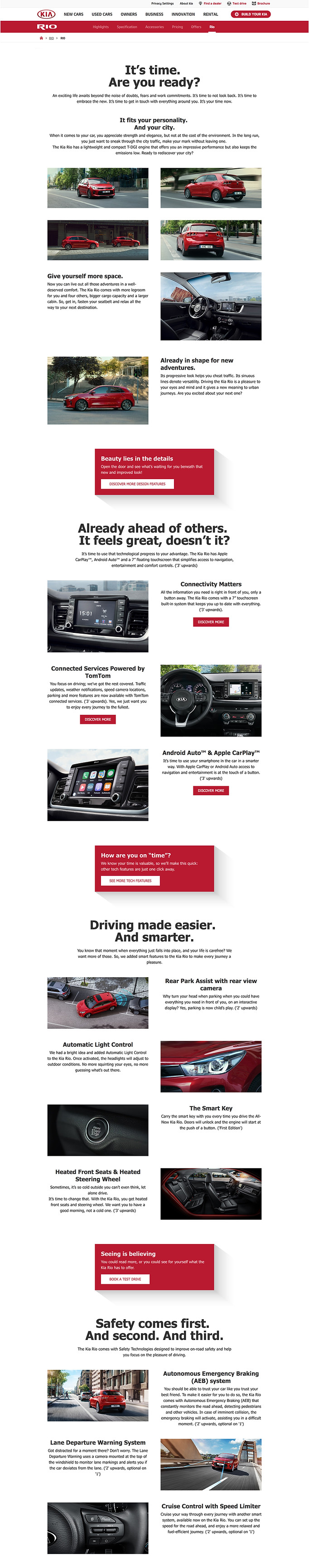 Kia Rio Product Page
