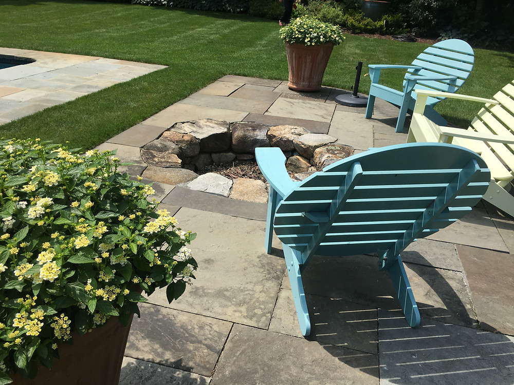 sunken fire pit, garden furniture
