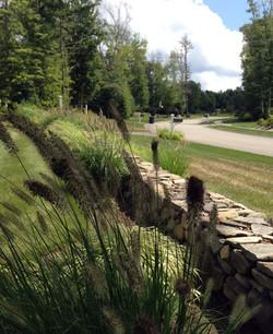 stone & plantings add permenance