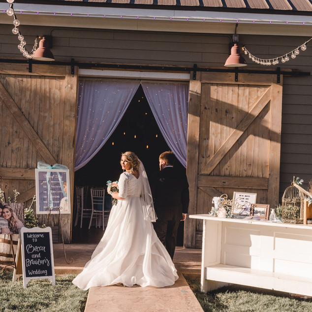 Grand Entrance into the Barn Venue at Oak Hills Reception and Event Center