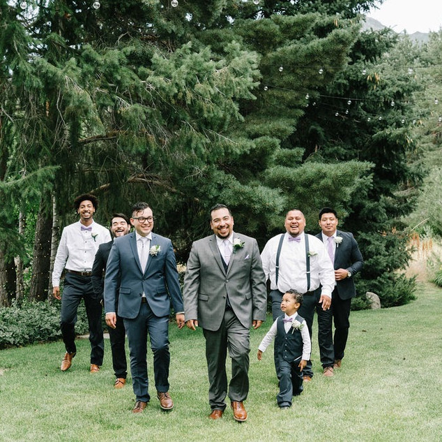 Groomsmen in the Garden at Oak Hills Reception and Event Center
