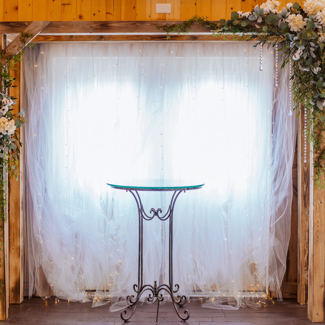 Wooden Arch at Oak Hills Reception and Event Center Barn Venue