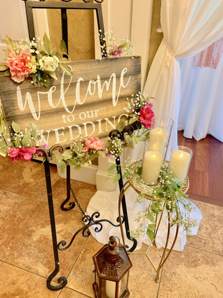 Welcome Wedding Sign with Fresh Flowers & Greenery