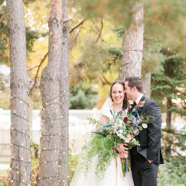 Newlywed couple in the Garden at Oak Hills Reception and Event Center