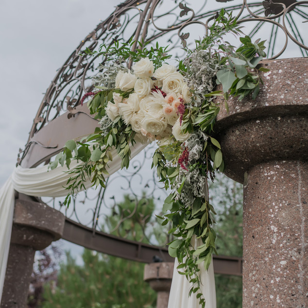 Floral Arrangement on the Ceremony Gazebo at Oak Hills Reception and Event Center