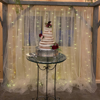 Wood Backdrop at Oak Hills Reception and Event Center