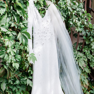 Bridal Dress Hanging from the Ballroom Deck
