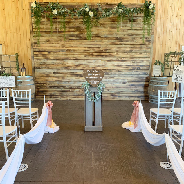 Barn Ceremony Set Up at Oak Hills Reception and Event Center